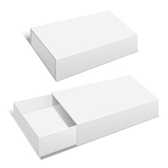 Realistische sjabloon leeg wit pakket papier vak leeg.