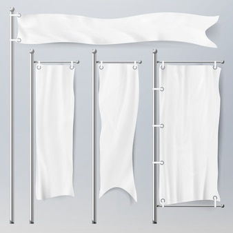 Realistische sjabloon lege witte vlaggen
