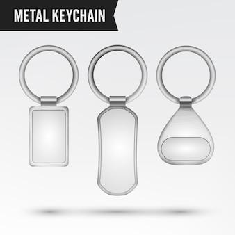 Realistische sjabloon metalen sleutelhanger vector set. 3d zeer belangrijke die ketting met ring voor sleutel op wit wordt geïsoleerd