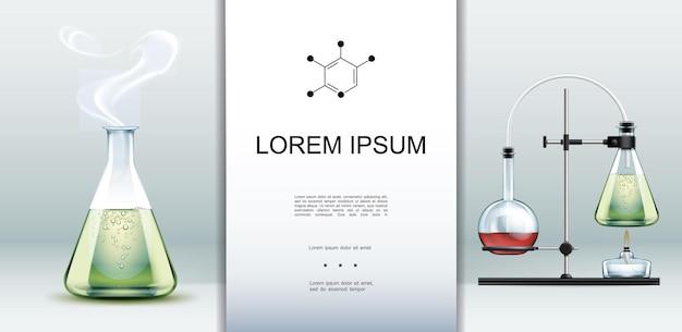 Realistische sjabloon voor laboratoriumapparatuur met laboratoriumglaswerk vol met groene hete vloeistof en chemische reactietest met kolven en alcoholbrander