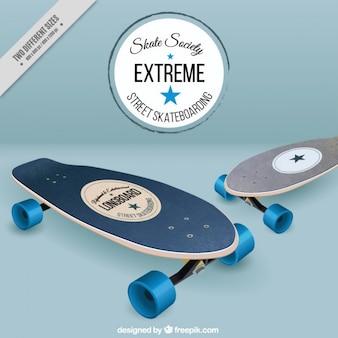 Realistische skateboards achtergrond