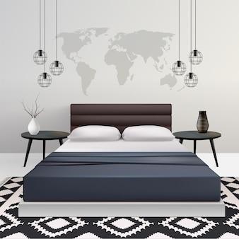 Realistische slaapkamer met meubilairillustratie