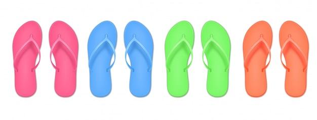 Realistische slipperset, gekleurde zomerslippers. ontwerpsjabloon van zomerstrand.