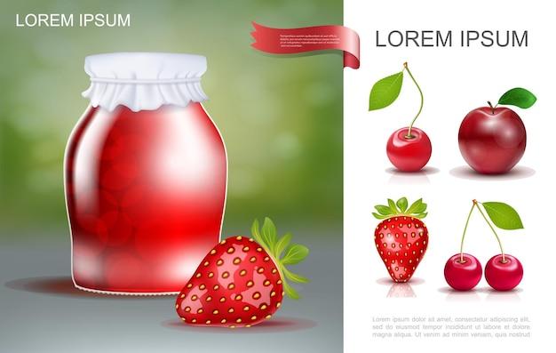 Realistische smakelijke bessenjam sjabloon met potje met rijpe aardbeien en kersen