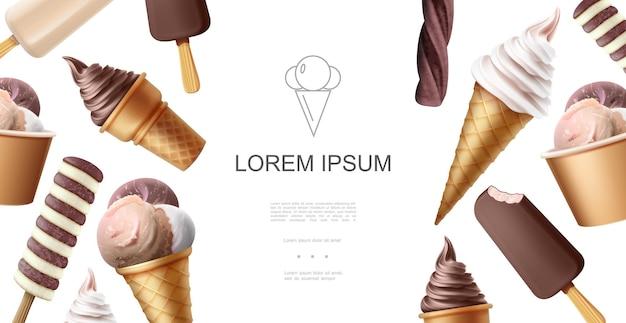 Realistische smakelijke ijssjabloon met ijslolly, chocolade, vanille, romig en glazuur-ijslepels van verschillende smaken