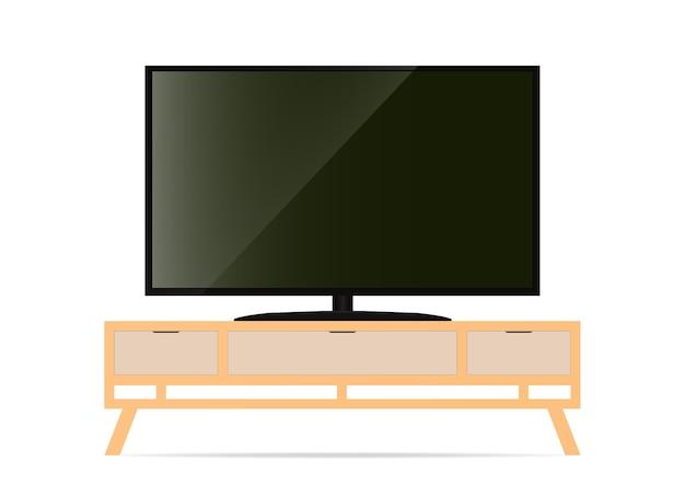 Realistische smart-tv op tafel. illustratie.