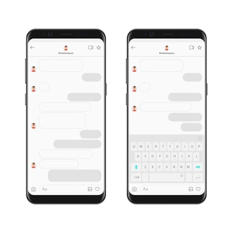 Realistische smartphone chat messenger app-sjabloon met chat-bubbels en toetsenbord. mockup dialogen componist