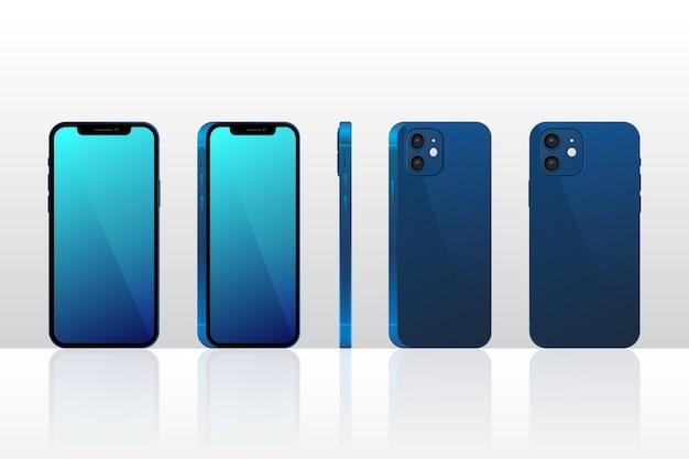 Realistische smartphone in verschillende perspectieven