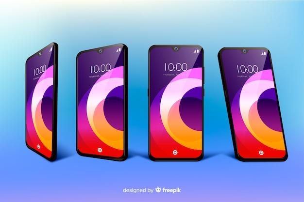 Realistische smartphone in verschillende weergaven