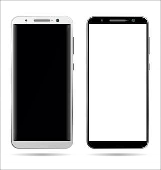Realistische smartphone met leeg scherm geïsoleerd op wit