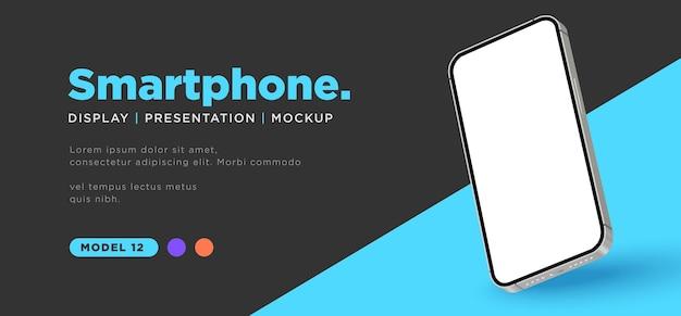 Realistische smartphone met mockup-presentatie op een leeg scherm