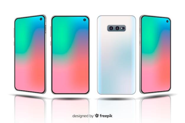 Realistische smartphone met twee camera's in verschillende weergaven