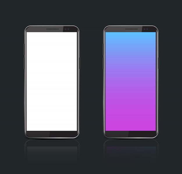 Realistische smartphone met wit scherm.