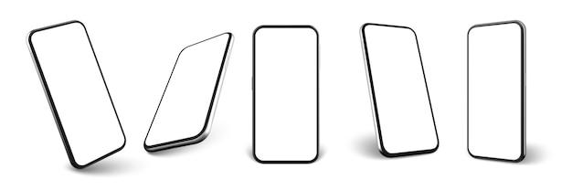 Realistische smartphone-set.