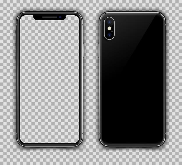 Realistische smartphone vergelijkbaar met iphone x. voor- en achteraanzicht.