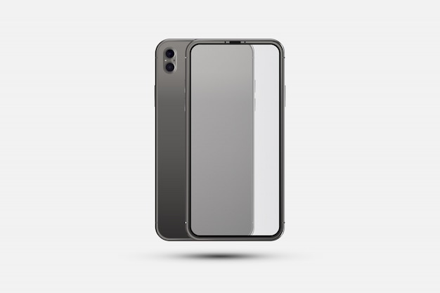 Realistische smartphone. voorzijde met transparant scherm en achterzijde met camera's
