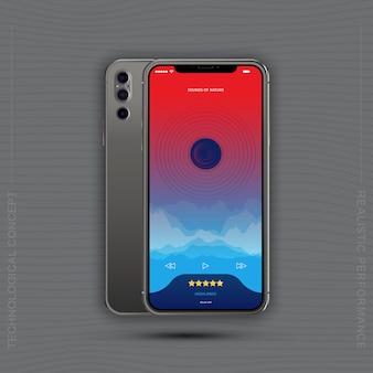 Realistische smartphones met mobiele muziekapplicatie, voorkant met scherm en achterkant met camera's.