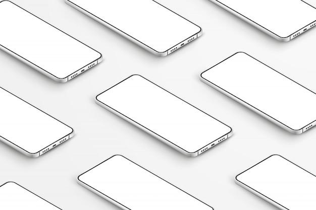 Realistische smartphones. mobiele telefoons met lege witte schermen. moderne mobiele telefoons sjabloon op witte achtergrond. illustratie van het apparaatscherm