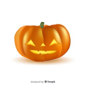 Realistische smiley halloween-pompoen