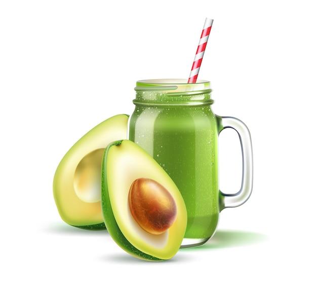 Realistische smoothie metselaarpot met stro-avocado