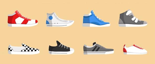 Realistische sneakers pictogramserie