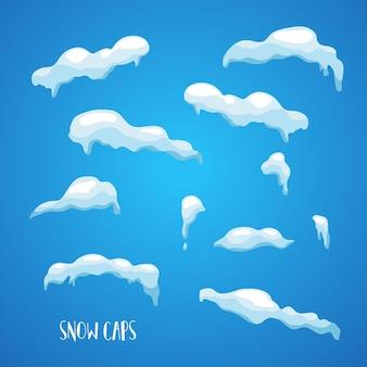 Realistische sneeuw, ijskappen, sneeuwballen en sneeuwbanken.