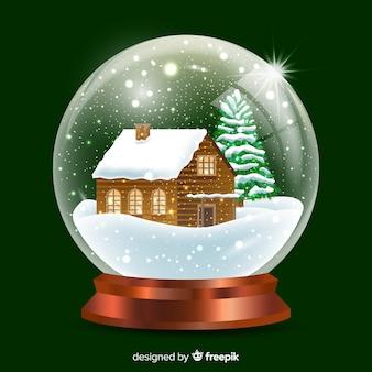 Realistische sneeuwbal van cabinekerstmis
