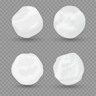 Realistische sneeuwbol illustratie. set van sneeuwbal iconen geïsoleerd. illustratie. sneeuw cirkel.