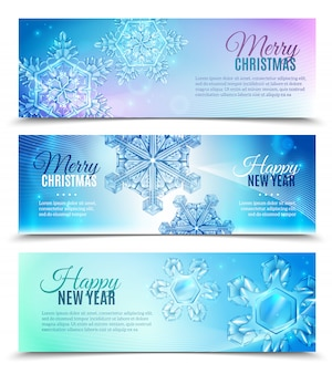 Realistische sneeuwvlok banner set