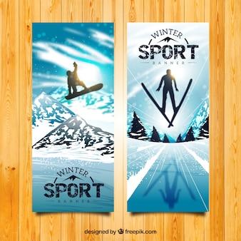 Realistische snowboarden en skiën banners