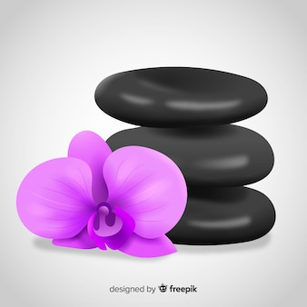 Realistische spa stenen met bloemen achtergrond
