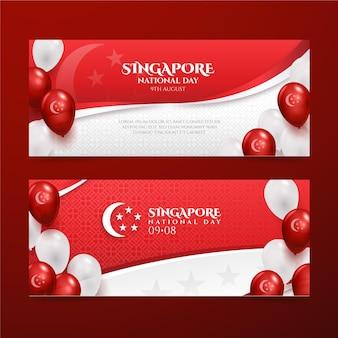 Realistische spandoeken voor nationale feestdag in singapore