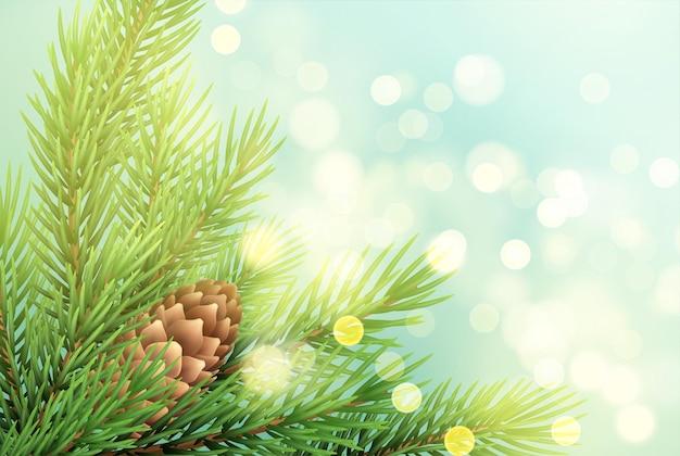 Realistische sparrentak met dennenappelillustratie. fir-tree takje met bult op sprankelende achtergrond. kerstdecoratie met gloeiende lichten. briefkaart, bannerontwerp. vector