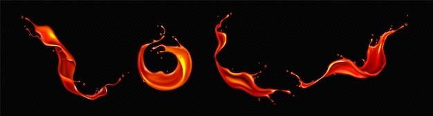Realistische spatten tomatensap of lava
