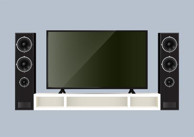 Realistische speaker en slimme tv op tafel. illustratie.