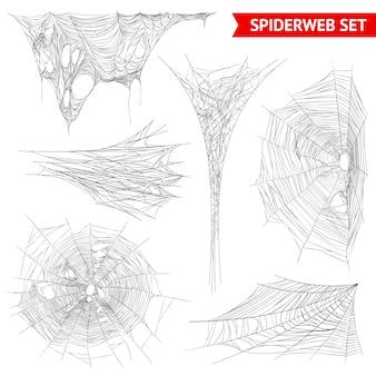 Realistische spinnenweb spinnenwebset