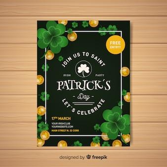 Realistische st. patrick's dag flyer sjabloon