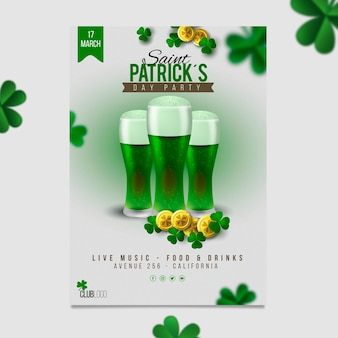 Realistische st. patrick's day a4 poster sjabloon