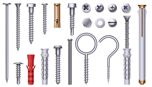 Realistische stalen moer, bout, schroef en plastic plug. 3d-metalen hardware-elementen met draad. roestvrije spijkers, spelden en noppenkoppen vectorreeks. illustratie van hardwarebout, bout en deuvel