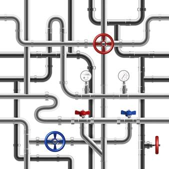 Realistische stalen pijpleiding systeem naadloos patroon