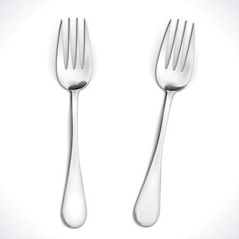 Realistische stalen vork geïsoleerd