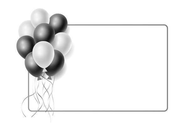 Realistische stelletje witte en zwarte heliumballonnen