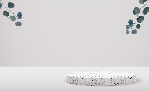 Realistische stenen sokkel met eucalyptusbladeren achtergrond.