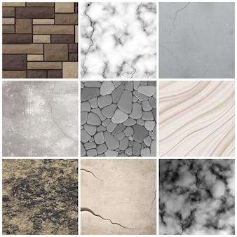 Realistische stenen textuur patronen collectie