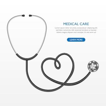 Realistische stethoscoop en hart geïsoleerd op een witte achtergrond, medische zorg concept