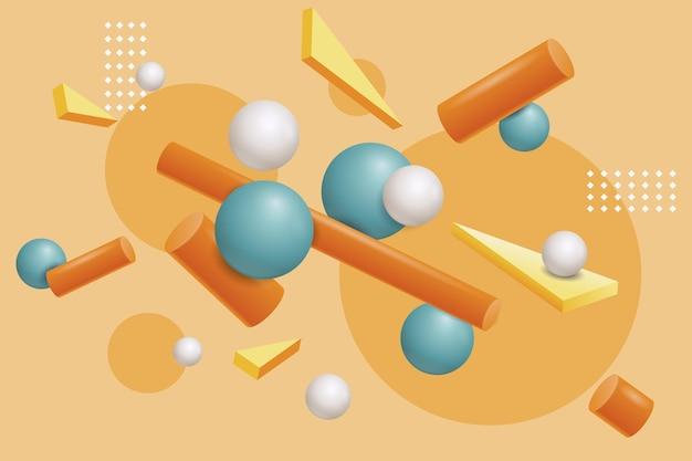 Realistische stijl 3d-vormen zwevende achtergrond