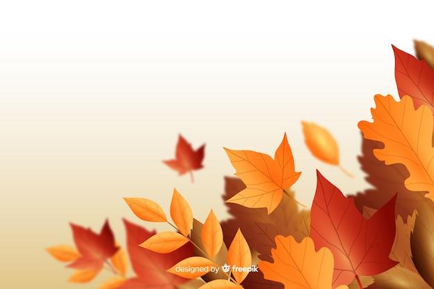Realistische stijl herfstbladeren achtergrond