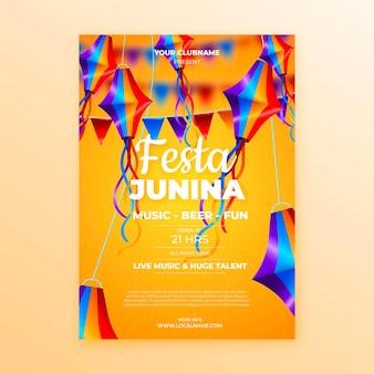 Realistische stijl juni festival poster sjabloon