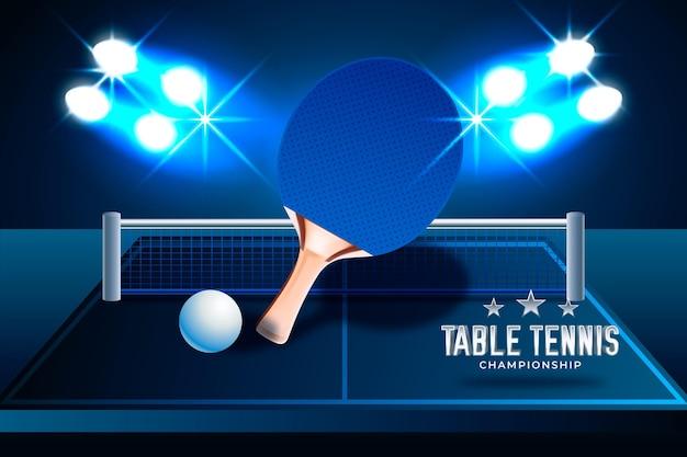 Realistische stijl tafeltennis achtergrond