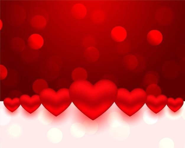 Realistische stijl valentijnsdag harten kaart ontwerp